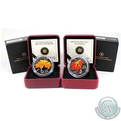 2009 & 2012 Canada $20 Maple Leaf with Crystal Raindrop Fine Silver Coins (2012 outer sleeve is ligh