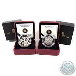 2012 Canada $20 Holiday Snowstorm & Holiday Snowflake Swarovski Crystals Fine Silver Coins (the snow