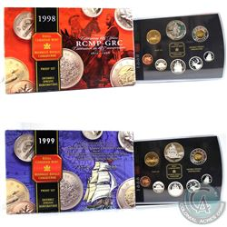 1998 Canada RCMP & 1999 Voyage of Juan Perez Proof Double Dollar Sets (some coins are toned & 1999 s