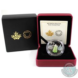 2017 Canada $20 Snow Covered Trees with Murano Glass Fine Silver Coin (red display case discoloured)