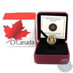 2013 $5 O Canada Orca 1/10oz Pure Gold Coin (outer sleeve is bent). Tax Exempt