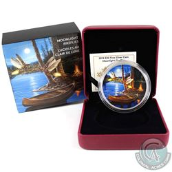 2015 Canada $30 Moonlight Fireflies Fine Silver Coin (outer sleeve lightly bent). Tax Exempt