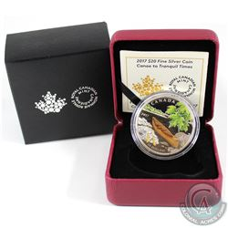 2017 Canada $20 Canoe to Tranquil Times Fine Silver Coin (coin is toned). Tax Exempt