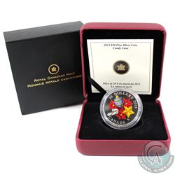 2013 Canada $20 Candy Cane Glass Fine Silver Coin (capsule is scratched). Tax Exempt