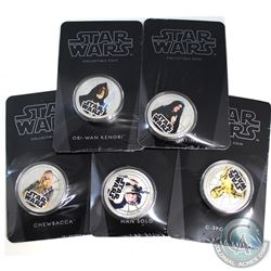 New Zealand Mint Issue: Lot of 5x 2011 Niue Star Wars Coloured Silver Plated Collectable Coins in Or