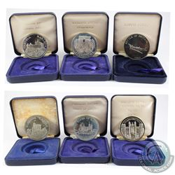 The Tower Mint Issue: Lot of 6x Nickel Silver Medallions Featuring Different English Landmarks in Bl