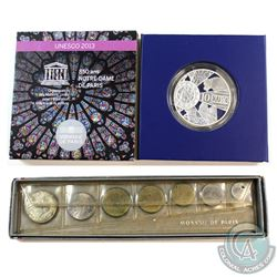 Paris Mint Issue: 1964 7-coin Mint Set & 2013 10 Euro 850th Anniversary of Notre-Dame Cathedral .900