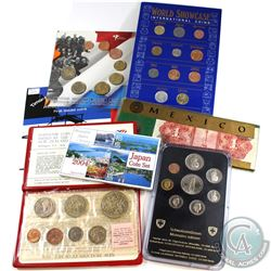 World Mint Issue: 1974 New Zealand 7-coin, 1981 Switzerland 8-coin, 2004 Japan 6-coin, 2004 East Tim