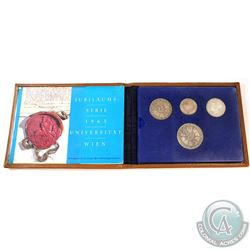 Austrian Mint Issue: 1965 Austria Vienna University 600th Anniversary 4-coin Silver Proof Set in Lea