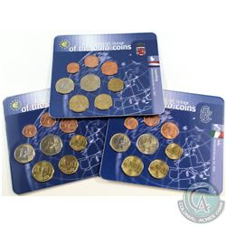 World Mint Issue: Lot of 3x First Official Issue of the Euro Coins 8-coin Sets from Luxemburg, Italy
