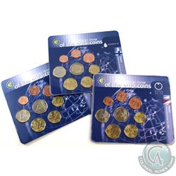 World Mint Issue: Lot of 3x First Official Issue of the Euro Coins 8-coin Sets from Austria, Finland