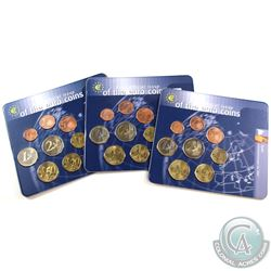World Mint Issue: Lot of 3x First Official Issue of the Euro Coins 8-coin Sets from Spain, Portugal