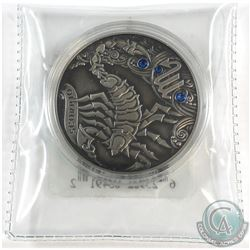2013 Belarus 20 Roubles Signs of the Zodiac Antique Sterling Silver Scorpio coin.