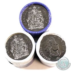 3x 2016 Canada 50-cent Original Rolls of 25pcs (one roll has a small tear). 3pcs
