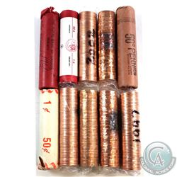 Lot of 10x 1963-2006 Canada 1-cent Original Rolls of 50pcs. You will receive 1963, 1966, 1982, 1987,
