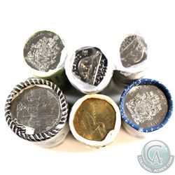 Lot of 6x Canada 5-cent, 50-cent & $1 Original Rolls. You will receive 2011 5-cent, 2012 5-cent, 201