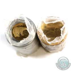 1987 Loon $1 & 1996 $2 Canada Original Rolls of 25pcs. First issue years for both of these coins! (1