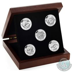 2014 O Canada $25 Fine Silver 5-coin Set (Tax Exempt)