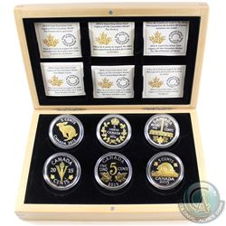 2015 Canada Legacy of the Nickel 6-Coin Fine Silver Set in Deluxe Box (capsules are lightly scratche