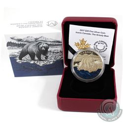2017 $20 Iconic Canada - The Grizzly Bear Fine Silver (toned). Tax Exempt
