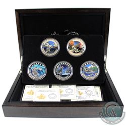 2016 Canada $20 Geometry In Art 5-coin Fine Silver Set in Deluxe Box (the Maple Leaf coin is lightly