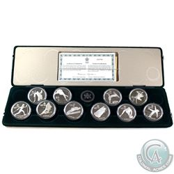 1988 Calgary Olympics $20 Sterling Silver Full 10-coin Set (capsules are scratched)