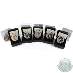 Lot of 5x 2009 Vancouver Olympic $25 Sterling Silver Coins .You will receive the Ski Jumping, Skelet