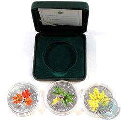 2001, 2005 & 2006 Canada Coloured $5 1oz Silver Maple Leaf coins (Tax Exempt). Coins come encapsulat