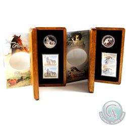 2006 Horse & Foal $5 & 2006 Peregrine Falcon & nestlings $5 Fine Silver Coin and Stamp Sets. 2 sets