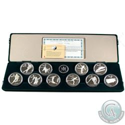 1988 Calgary Olympic Sterling Silver 10-Coin Set in the Original Display Case (coins are toned and c