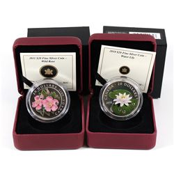 2010 Water Lily & 2011 Rose Canada $20 Fine Silver Coins (Tax Exempt). 2pcs.