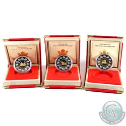 1998-2000 $15 Lunar Silver/Gold Coin: 1998 Tiger, 1999 Rabbit & 2000 Dragon. Coins come encapsulated