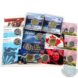 13x RCM Commemorative coins: 3x 1999 July 25-cent, 2000 CIBC run for the cure (health) 25-cent, 2000