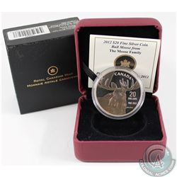 2012 Canada $20 Bull Moose by Robert Bateman Fine Silver Coin (capsule lightly scratched, coin toned