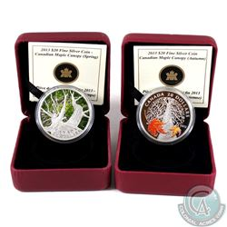 2013 Canada $20 Canadian Maple Canopy - Spring & Autumn Fine Silver Coins (missing outer sleeves & A