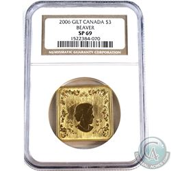 2006 Canada $3 Gilt Square Beaver NGC Certified SP-69.