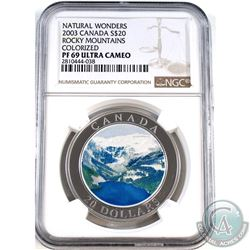 2003 Canada $20 Natural Wonders- Rocky Mountains NGC Certified PF-69 Ultra Cameo.