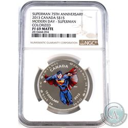 2013 Canada $15 Modern Day Superman NGC Certified PF-69 Matte (Tax Exempt)