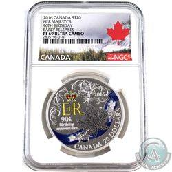 2016 Canada $20 Her Majesty's 90th Birthday NGC Certified PF-69 Early Releases (Tax Exempt).