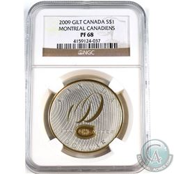 2009 Canada $1 Gilt- Montreal Canadiens NGC Certified PF-68.