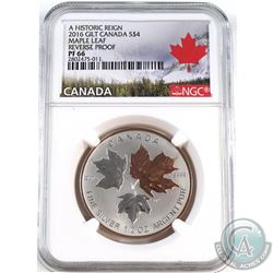 2016 Canada $4 Historic Reign - Maple Leaf NGC Certified PF-66 Reverse Proof (Tax Exempt).