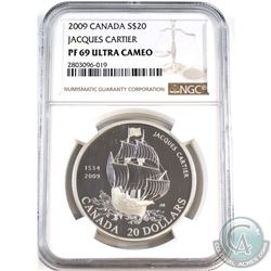 2009 Canada $20 475th Anniv. Jaques Cartier Arrival NGC Certified PF-69 Ultra Cameo (Tax Exempt).