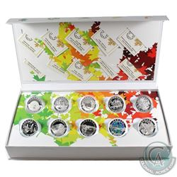 2014 O Canada $10 Complete 10-Coin Set with Deluxe Box (a few capsules may be lightly scratched). Ta