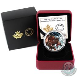 2018 $20 Canadian Mosaics - Grizzly Bear Fine Silver Coin (Tax Exempt)