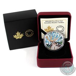 2018 $20 Canadian Mosaics - Caribou Fine Silver Coin (capsule lightly scratched on obverse). Tax Exe
