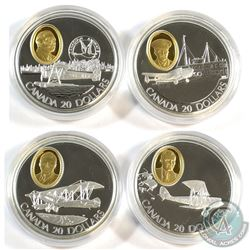 Lot of 4x 1992-1993 Canada $20 Aviation Series Sterling Silver Coins in Capsules and Cardboard Packa