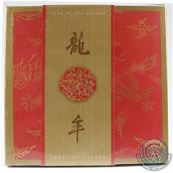 2000 Canada $15 Lunar Year of the Dragon Sterling Silver Gold Plated Coin and Stamp Set Sealed in Or