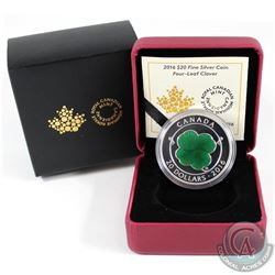 2016 Canada $20 Four-Leaf Clover Fine Silver Coin (outer sleeve lightly worn). Tax Exempt