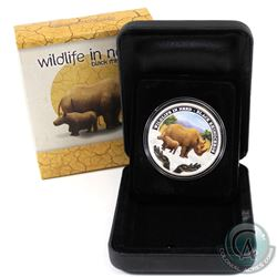 Perth Mint Issue: 2012 Tuvalu $1 Wildlife in Need - Black Rhinoceros Fine Silver Proof Coin (small t