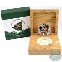 New Zealand Mint Issue: 2018 Nicaragua C$100 Wildlife - Three-Toed Sloth 1oz Fine Silver Proof Coin